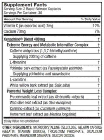 Ingrédients-xenadrine