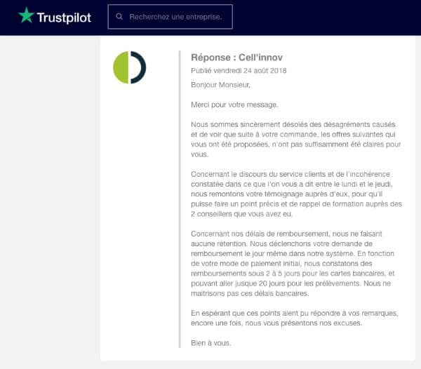 Reponse Cellinnov TrustPilot