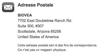 Adresse Postale BIOVEA Arizona USa