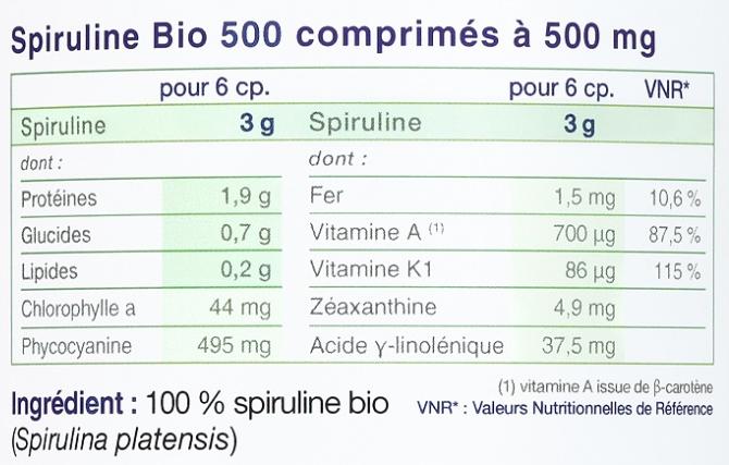 Spiruline Bio et Vegan Etiquette Ingredients